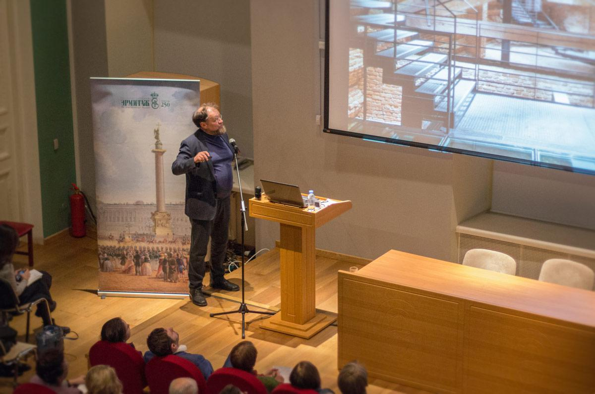 "Speech by N. Yavein in the Lecture Hall of the General Staff of the State Hermitage Museum with a lecture on museum projects of the Architectural Bureau ""Studio 44"""